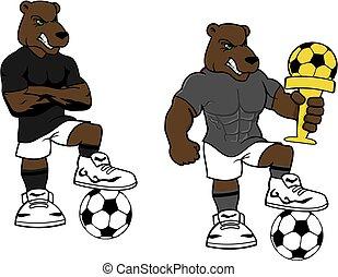 soccer futbol strong bear cartoon set in vector format very...