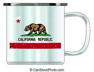California Tin Cup - A typical blue coloured tin cup with...