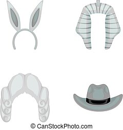 Rabbit ears, judge wig, cowboy. Hats set collection icons in monochrome style vector symbol stock illustration web.