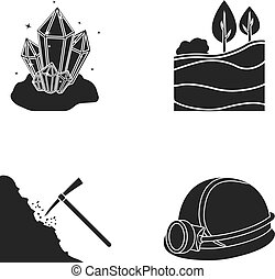 Crystals, coal seam, pickaxe, helmet with a lantern.Mine set collection icons in black style vector symbol stock illustration web.