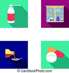 Inhaler, medical cabinet, tablets, syrup in a spoon.Mtdicine set collection icons in flat style vector symbol stock illustration web.