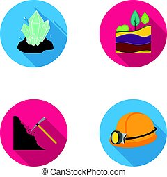 Crystals, coal seam, pickaxe, helmet with a lantern.Mine set collection icons in flat style vector symbol stock illustration web.