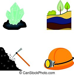 Crystals, coal seam, pickaxe, helmet with a lantern.Mine set collection icons in cartoon style vector symbol stock illustration web.