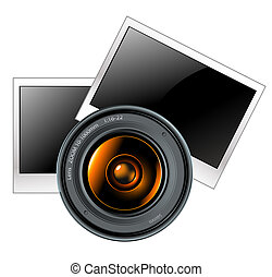 lens with photo frames, this illustration may be useful as...
