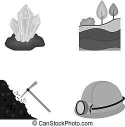 Crystals, coal seam, pickaxe, helmet with a lantern.Mine set collection icons in monochrome style vector symbol stock illustration web.