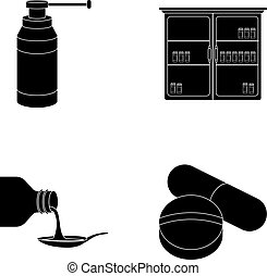 Inhaler, medical cabinet, tablets, syrup in a spoon.Mtdicine set collection icons in black style vector symbol stock illustration web.