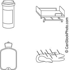 Heating pad, hospital gurney, acupuncture.Mtdicine set...