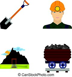 A shovel, a miner, an entrance to a mine, a trolley with coal.Mine set collection icons in cartoon style vector symbol stock illustration web.