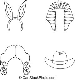 Rabbit ears, judge wig, cowboy. Hats set collection icons in outline style vector symbol stock illustration web.