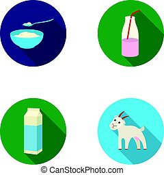 Bowl of cottage cheese, yogurt, milk package, goat. Milk set...