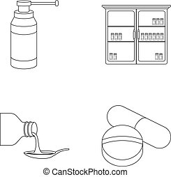 Inhaler, medical cabinet, tablets, syrup in a spoon.Mtdicine set collection icons in outline style vector symbol stock illustration web.