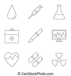 Doctoral icons set, outline style - Doctoral icons set....
