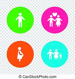 Family lifetime icons. Couple love and pregnancy.