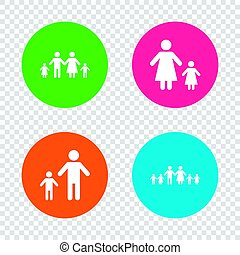 Family with two children sign. Parents and kids. - Large...
