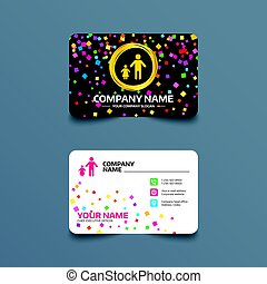 One-parent family with one child sign icon. - Business card...