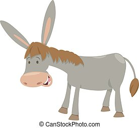 donkey farm animal - Cartoon Illustration of Funny Donkey...