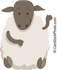 sheep cartoon farm animal - Cartoon Illustration of Cute...