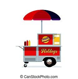 Hot dog street cart. Fast food stand vendor service. Kiosk...