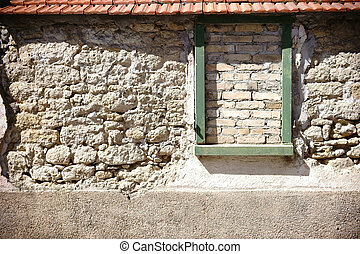 Rustic wall with window frame