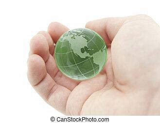 Cristal, globo, verde, mão