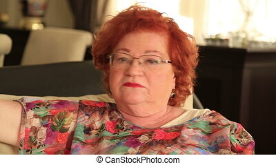 Senior woman shaking head say no - Portrait of a red hair...
