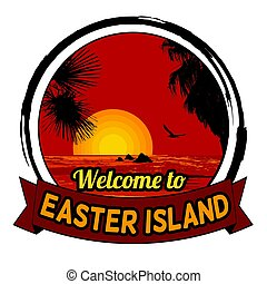 Welcome to Easter Island concept for t-shirt and other print...