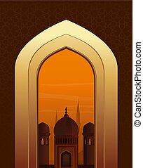 Islamic doorway view Arabian night