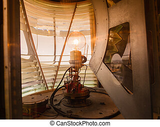 inside of a lighthouse showing the light bulb interior.