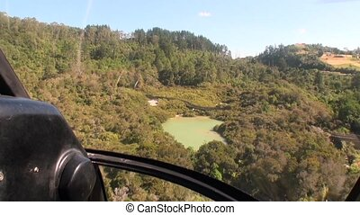 Forest in landscape of river and lake view from above in New Zealand.