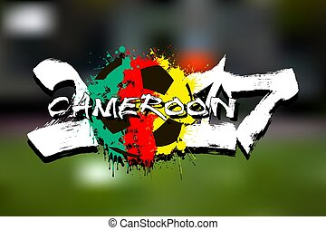 Number 2017 and soccer ball painted in the colors of the Cameroon flag