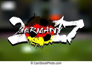 Number 2017 and soccer ball painted in the colors of the Germany flag