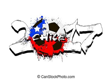 Number 2017 and soccer ball painted in the colors of the Chile flag
