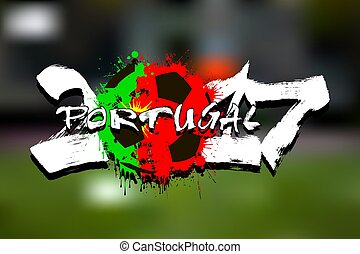 number 2017 and soccer ball painted in the colors of the Portugal flag