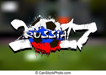 Number 2017 and soccer ball painted in the colors of the Russia