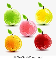 Set of fresh apples on white background.