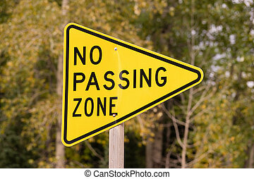 Yellow Triangle Road Sign Warning No Passing Zone - a...
