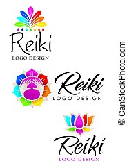 Three different Reiki logos with floral theme with the colors of the seven chakras - Vector image