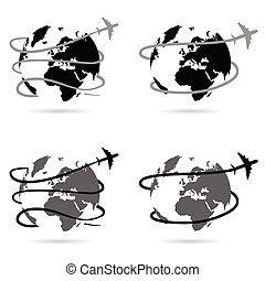 travel with airplane around the world illustration