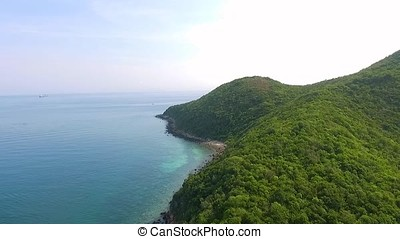 Aerial View of the rocky islands in Andaman sea, Thailand....