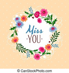 Miss you gift card vector illustration