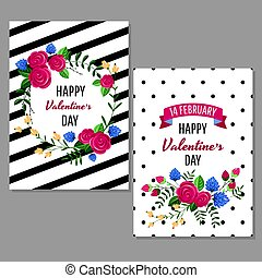 Valentine's day greeting cards vector illustration