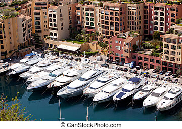 Yacht Harbor - A row of yachts in Monaco, Monte Carlo