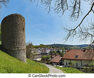 View from the castle ruin of Reifenberg to the community of...