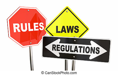 Rules Laws Regulations Stop Yield Road Signs 3d Illustration
