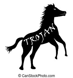 black trojan horse computer virus icon vector