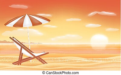 relax beach chair umbrella with sunset sea beach background