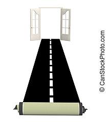 Road and door