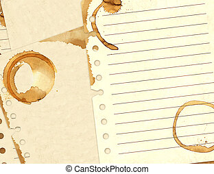 Stains of coffee on sheets of paper