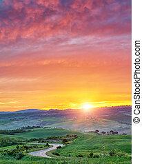 Colorful Tuscany sunrise - Beautiful Tuscany landscape at...