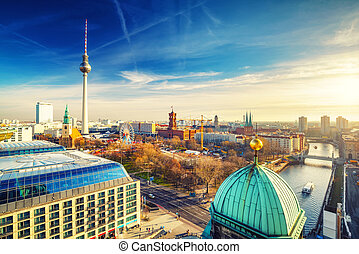 Aerial view on Berlin - Aerial view on Alexanderplatz and...